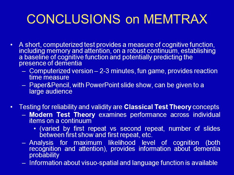 CONCLUSIONS on MEMTRAX