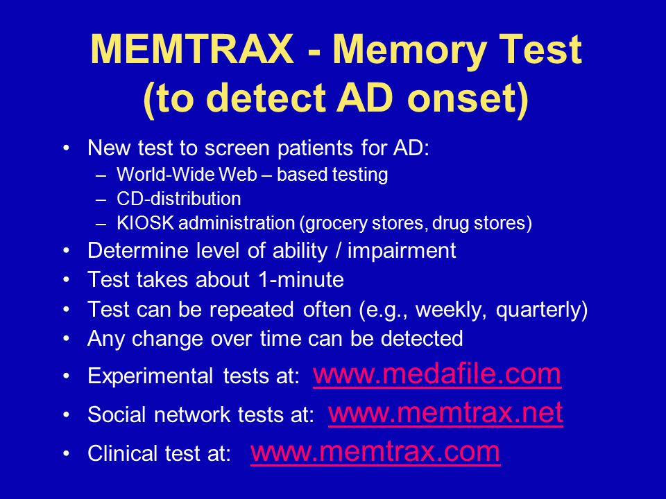MEMTRAX - Memory Test (to detect AD onset)
