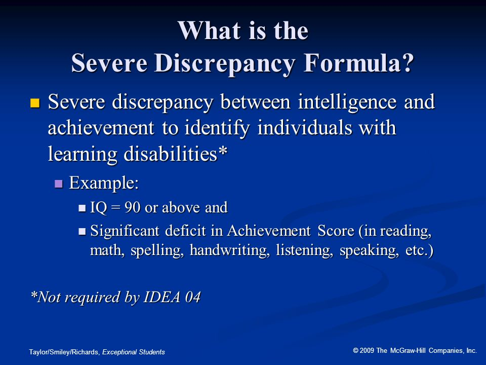 What is the Severe Discrepancy Formula