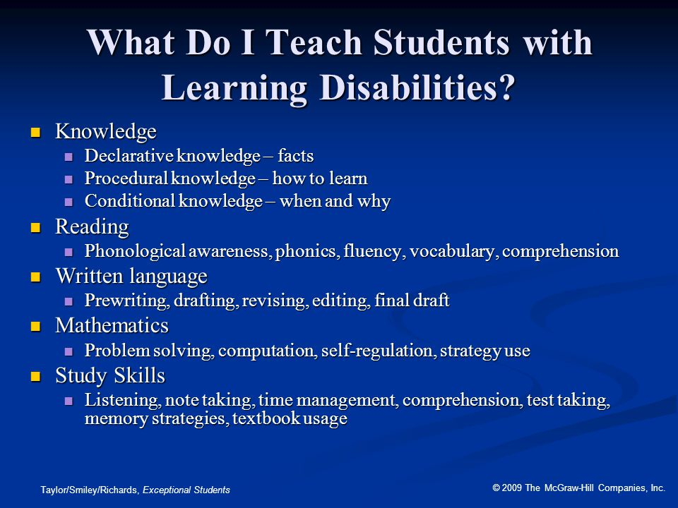 What Do I Teach Students with Learning Disabilities