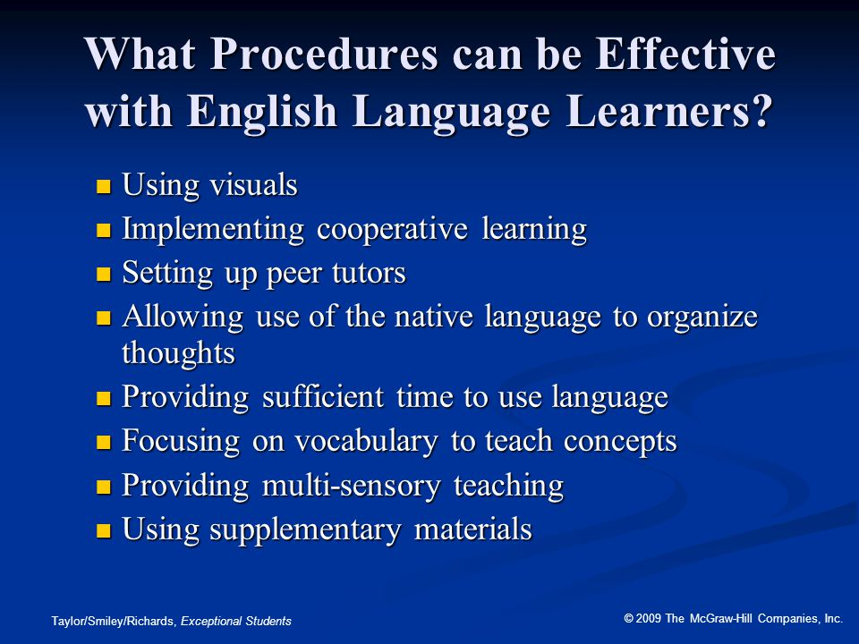 What Procedures can be Effective with English Language Learners