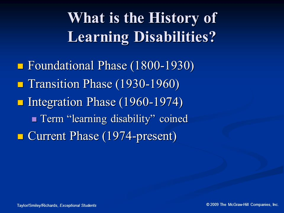 What is the History of Learning Disabilities