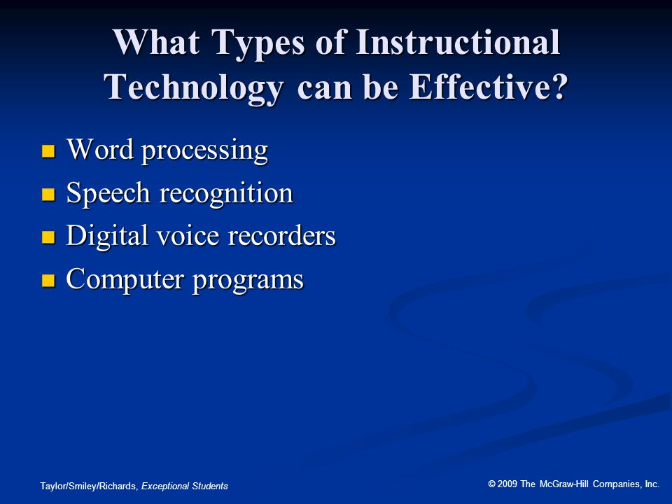 What Types of Instructional Technology can be Effective