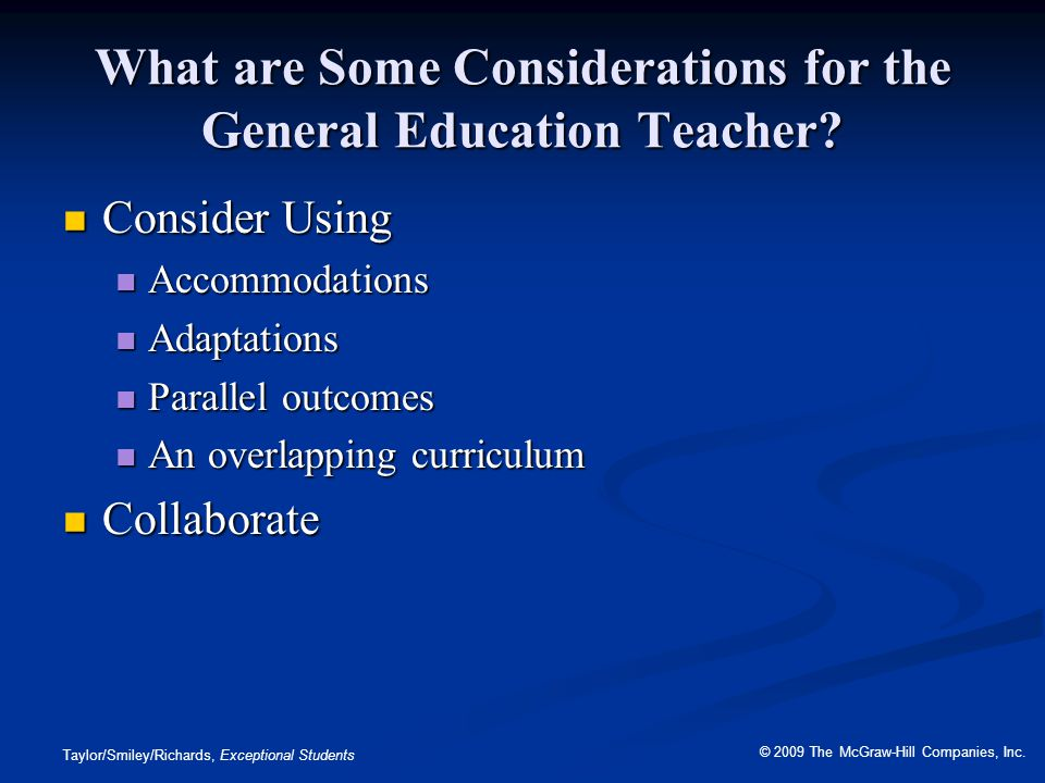 What are Some Considerations for the General Education Teacher
