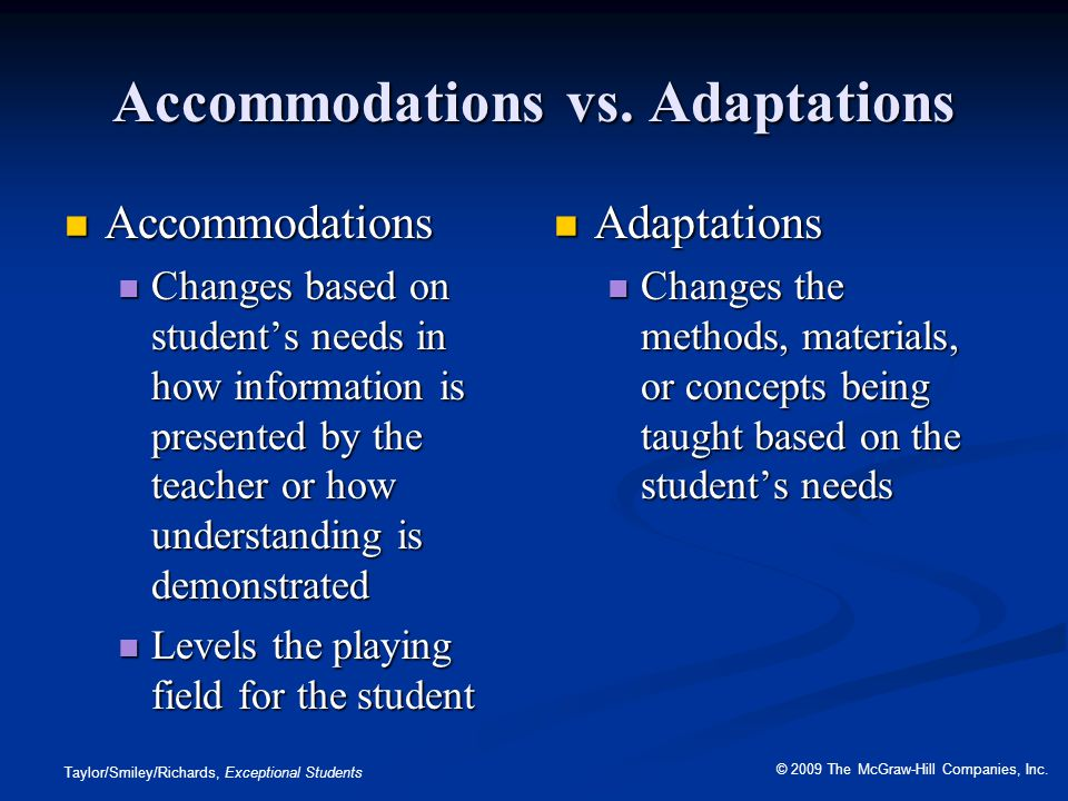 Accommodations vs. Adaptations