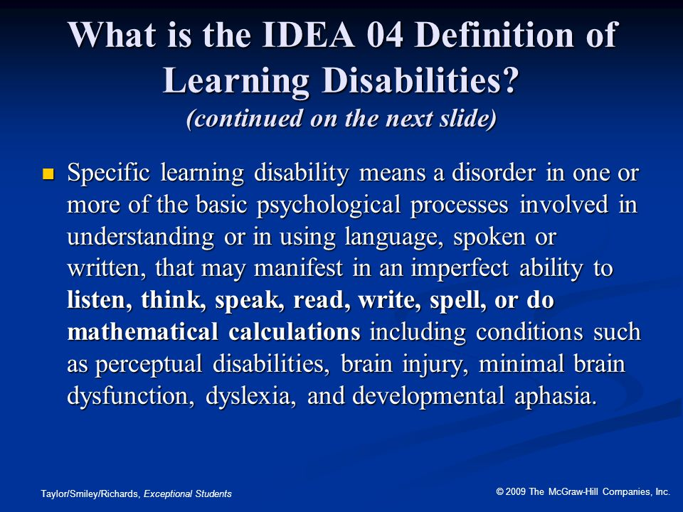 What is the IDEA 04 Definition of Learning Disabilities