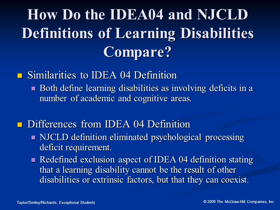How Do the IDEA04 and NJCLD Definitions of Learning Disabilities Compare