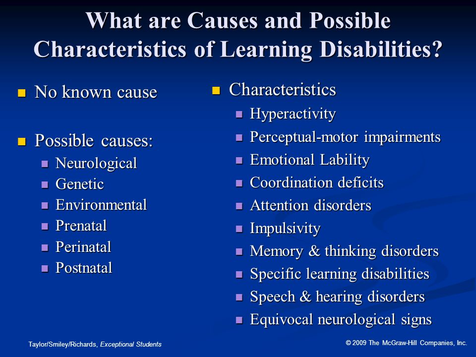 What are Causes and Possible Characteristics of Learning Disabilities