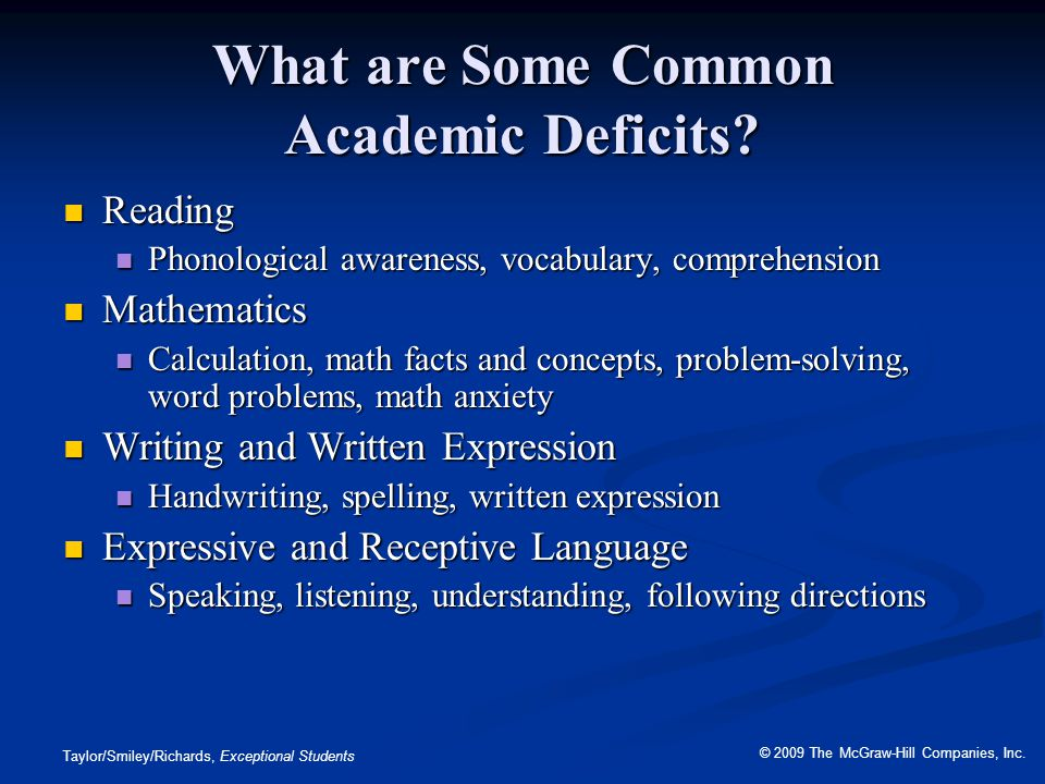 What are Some Common Academic Deficits
