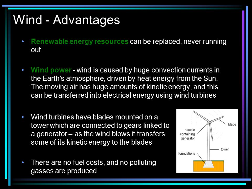 Wind - Advantages Renewable energy resources can be replaced, never running out.