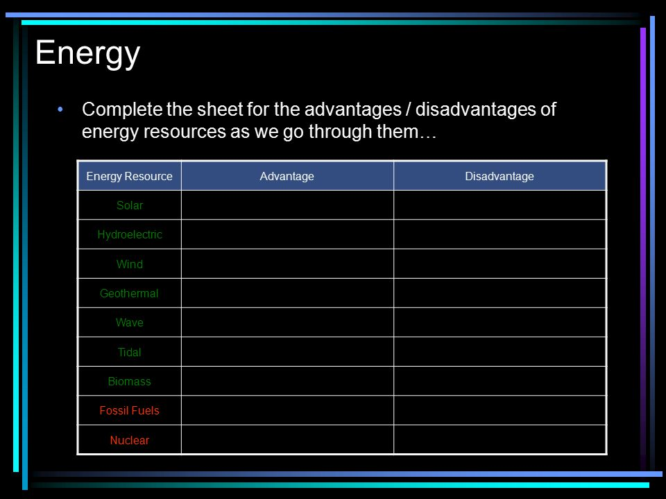 Energy Complete the sheet for the advantages / disadvantages of energy resources as we go through them…