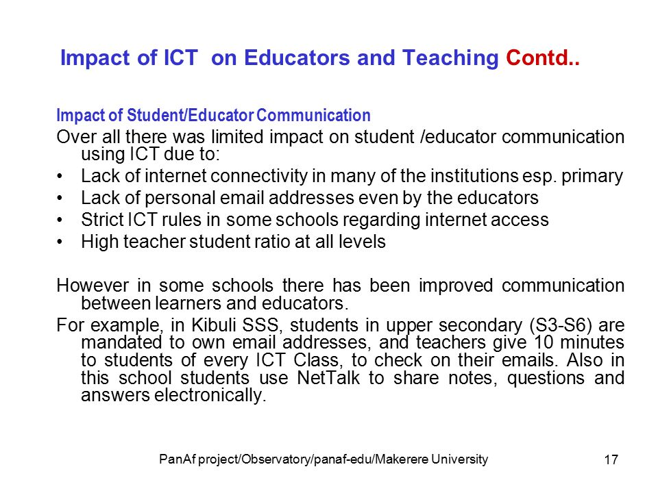 PEDAGOGICAL INTEGRATION OF ICTS IN UGANDAN EDUCATION INSTITUTIONS By
