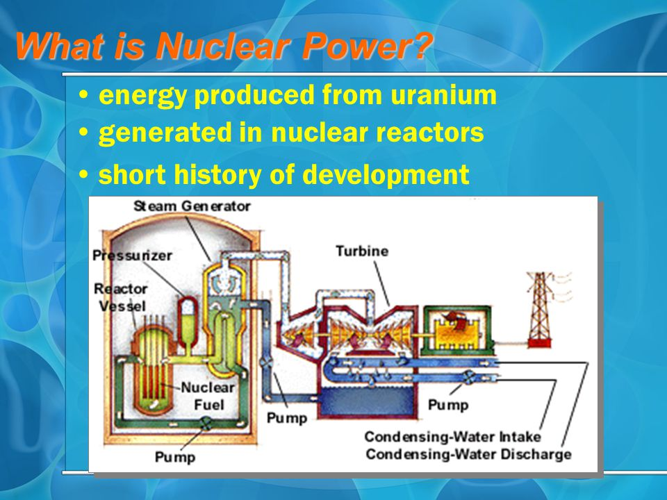 should there be a nuclear power Nuclear power plants use the heat generated from nuclear fission in a contained environment to convert water to steam, which powers generators to produce electricity although the construction and operation of these facilities are closely monitored and regulated by the nuclear regulatory commission (nrc), accidents are possible.