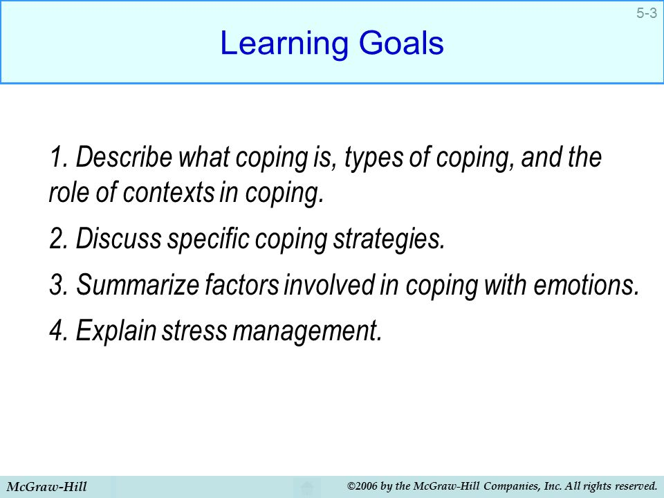 thesis about stress and coping strategies Coping strategies are broadly classified in two types: problem focused and emotion focused according to the transactional model, stressful experiences are perceived as person-environment transactions in these transactions, the person undergoes a four-stage assessment known as appraisal.