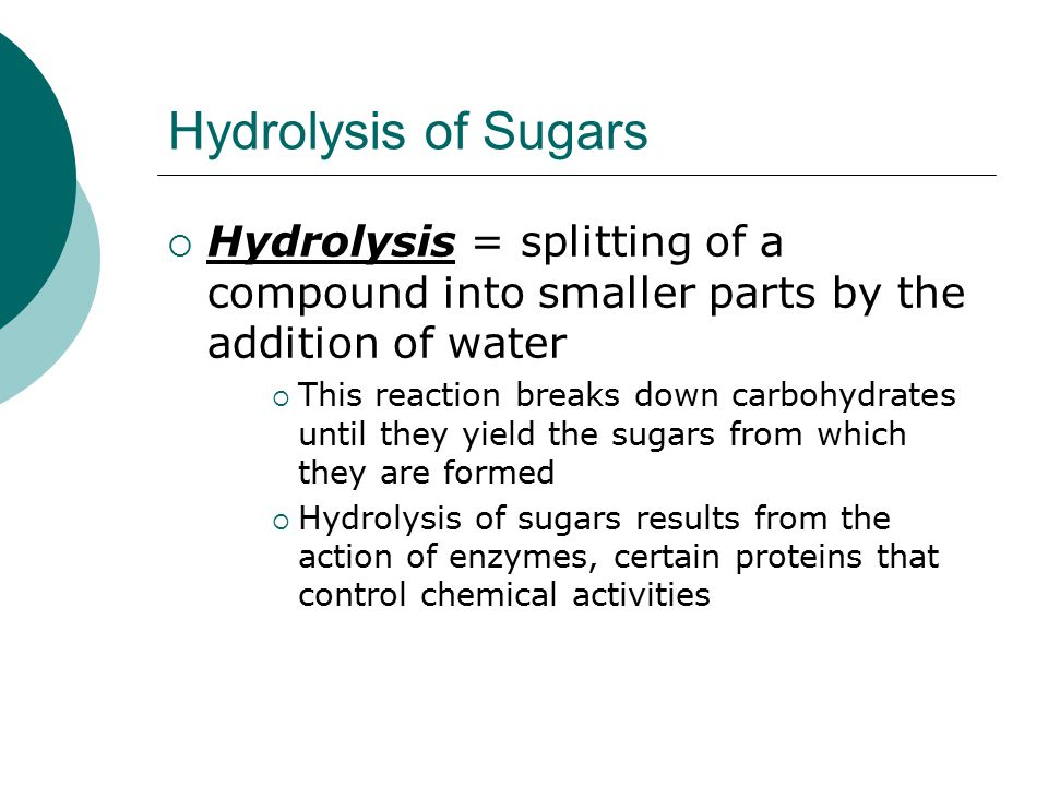 Hydrolysis of Sugars Hydrolysis = splitting of a compound into smaller parts by the addition of water.