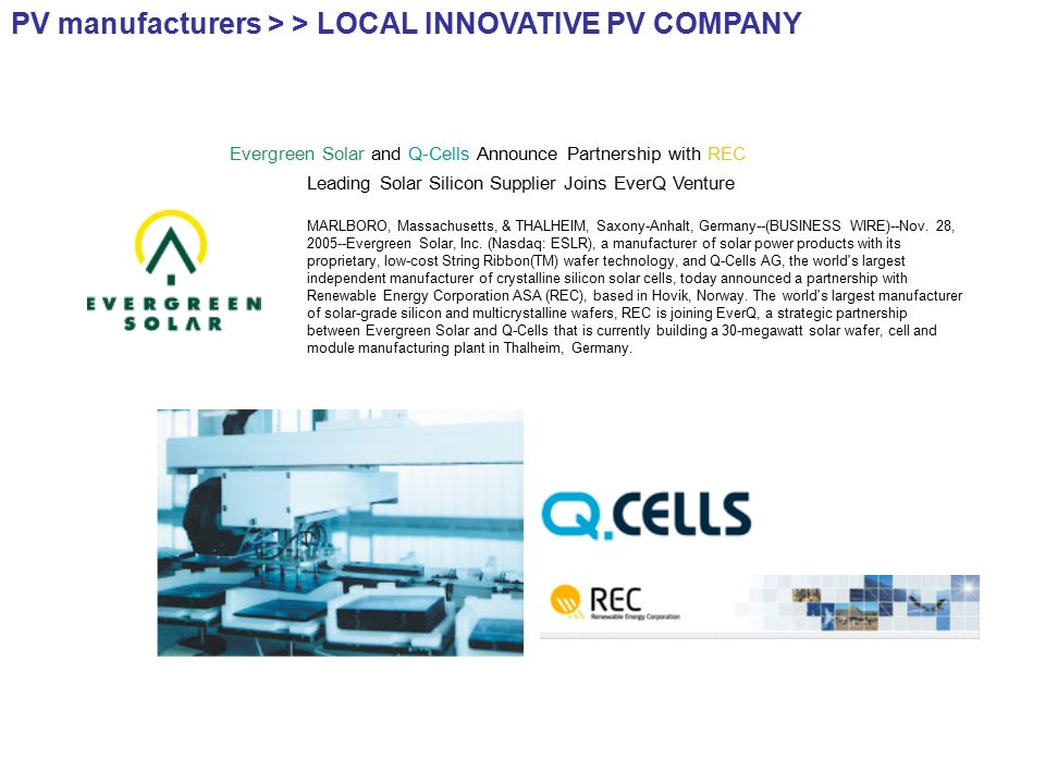 Evergreen Solar and Q-Cells Announce Partnership with REC