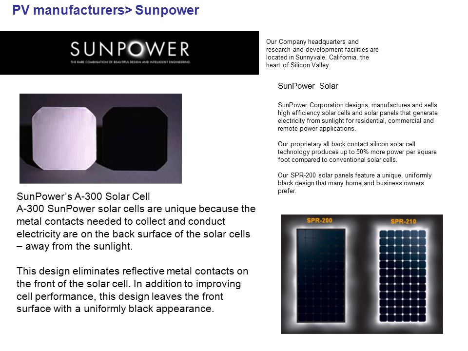 PV manufacturers> Sunpower