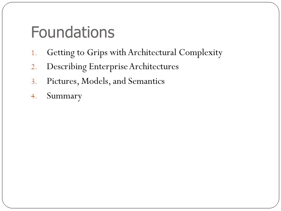Foundations Getting to Grips with Architectural Complexity
