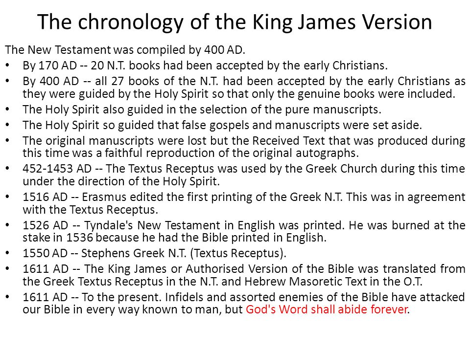 The chronology of the King James Version