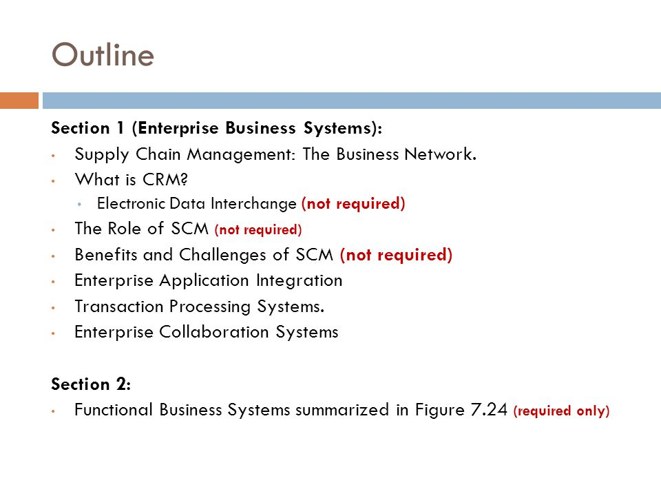Outline Section 1 (Enterprise Business Systems):