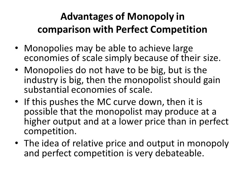 economics of a monopoly A pure monopoly is defined as a single supplier while there only a few cases of pure monopoly, monopoly 'power' is much more widespread, and can exist even when there is more than one supplier – such in markets with only two firms, called a duopoly, and a few firms, an oligopoly.