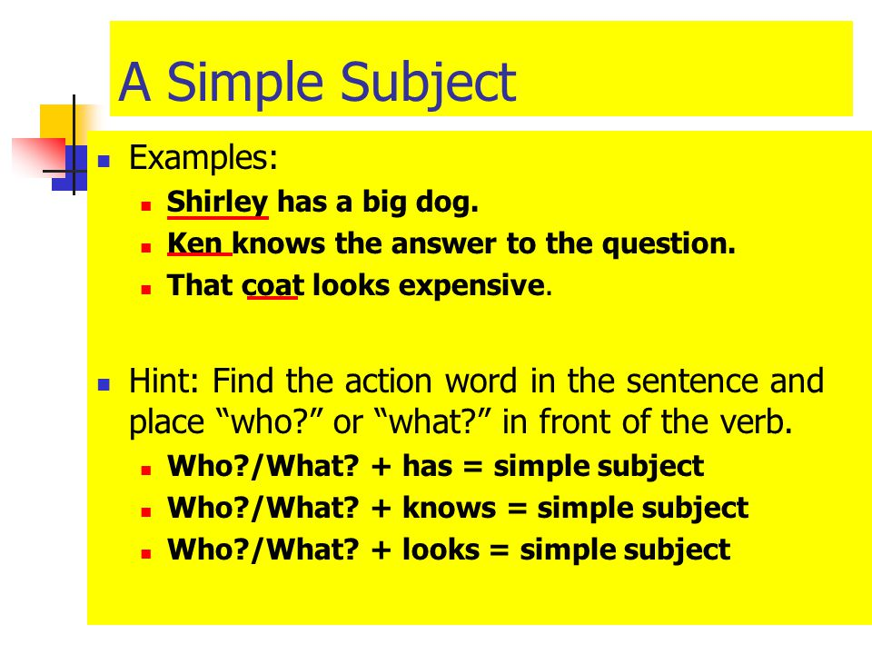 examples of subjects in a sentence