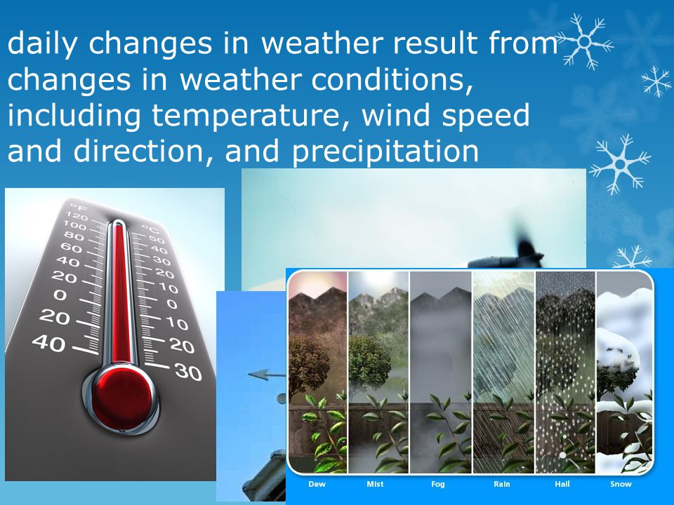 daily changes in weather result from changes in weather conditions, including temperature, wind speed and direction, and precipitation