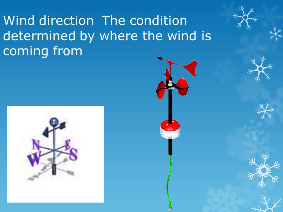 Wind direction The condition determined by where the wind is coming from