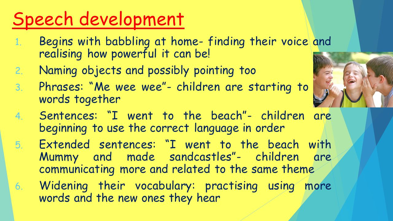 Speech development Begins with babbling at home- finding their voice and realising how powerful it can be!