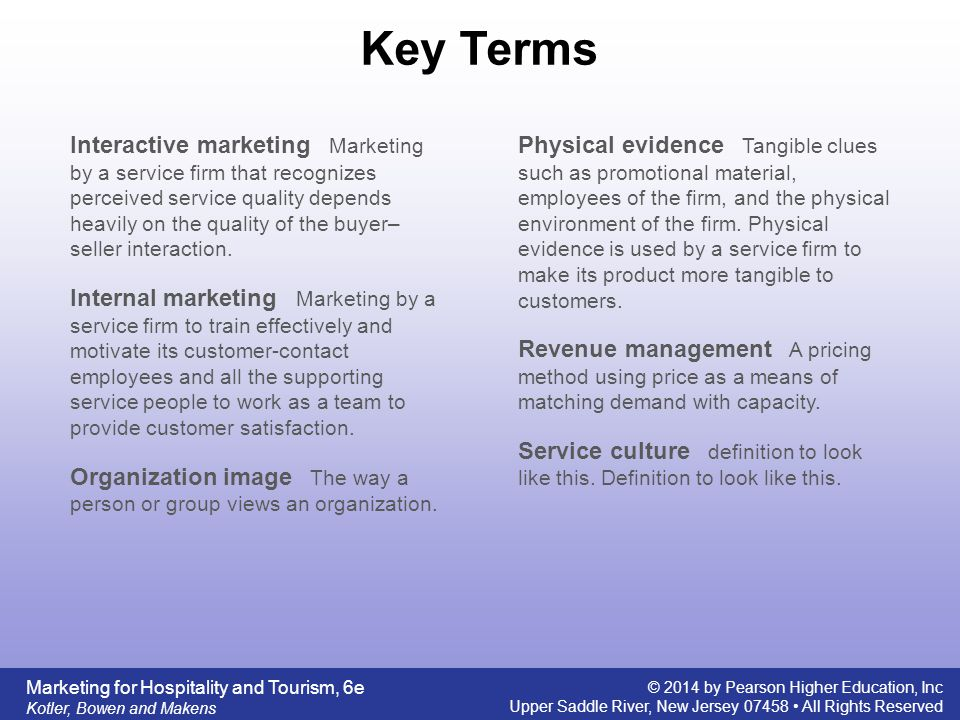 Service characteristics of hospitality and tourism marketing ppt 12 key terms interactive marketing fandeluxe Images