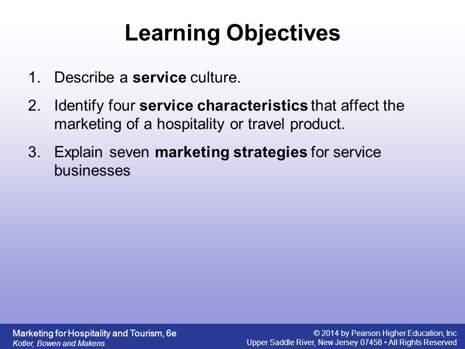 Service characteristics of hospitality and tourism marketing ppt 2 learning objectives fandeluxe Images