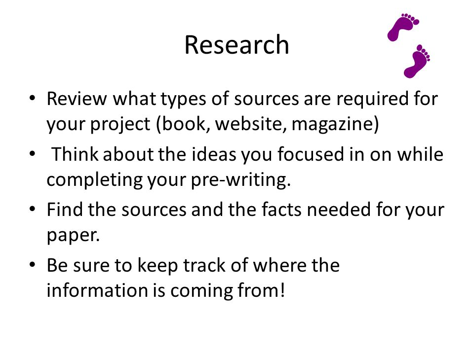 Research Review what types of sources are required for your project (book, website, magazine)