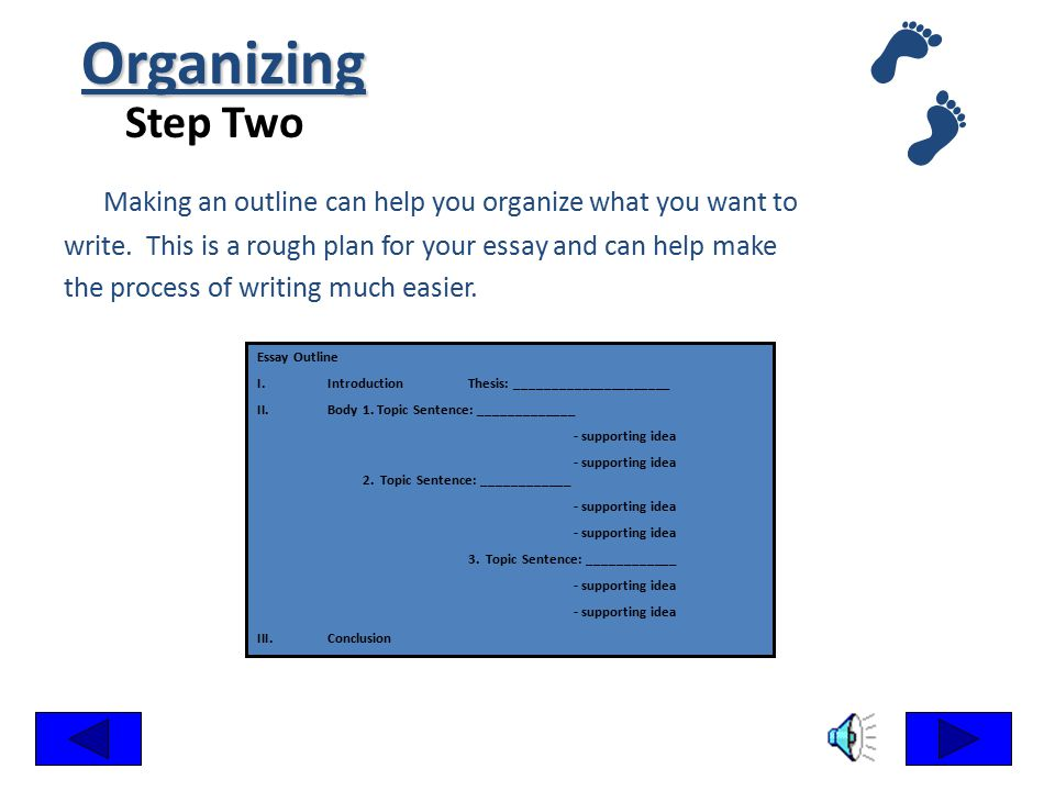 Organizing Step Two. Making an outline can help you organize what you want to. write. This is a rough plan for your essay and can help make.