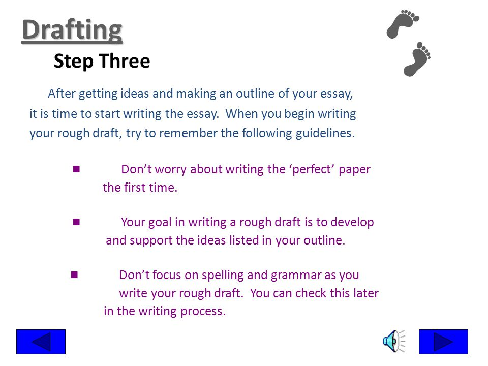 Drafting Step Three. After getting ideas and making an outline of your essay, it is time to start writing the essay. When you begin writing.