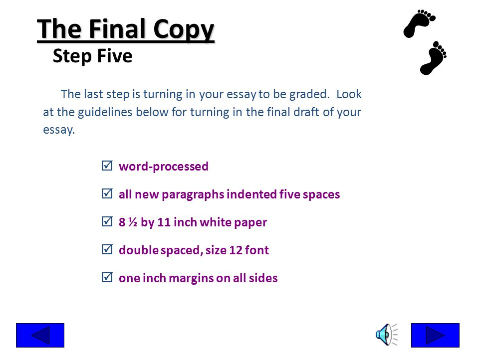 The Final Copy Step Five