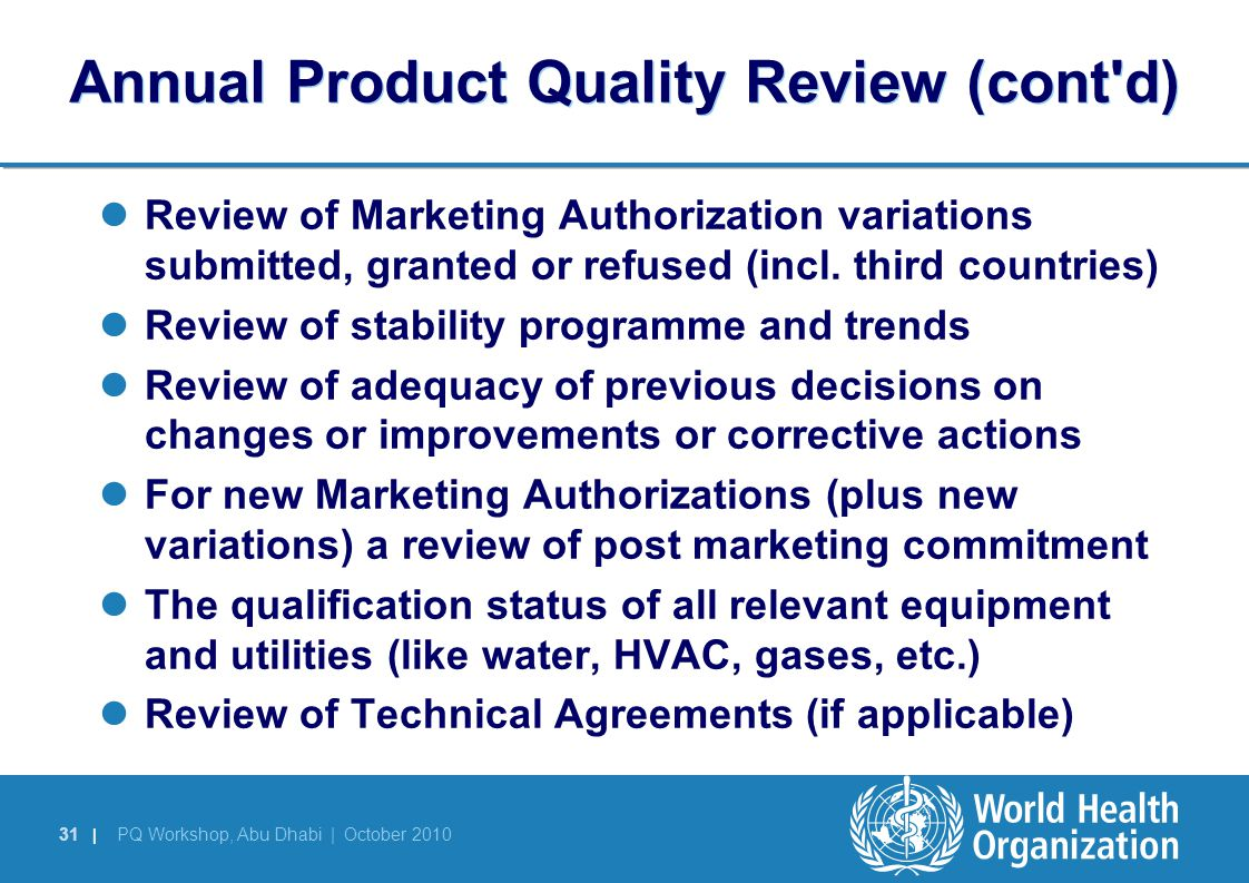 Annual Product Quality Review (cont d)