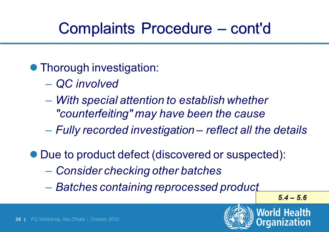 Complaints Procedure – cont d