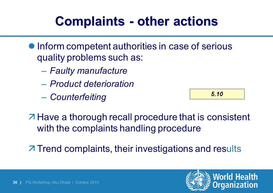 Complaints - other actions