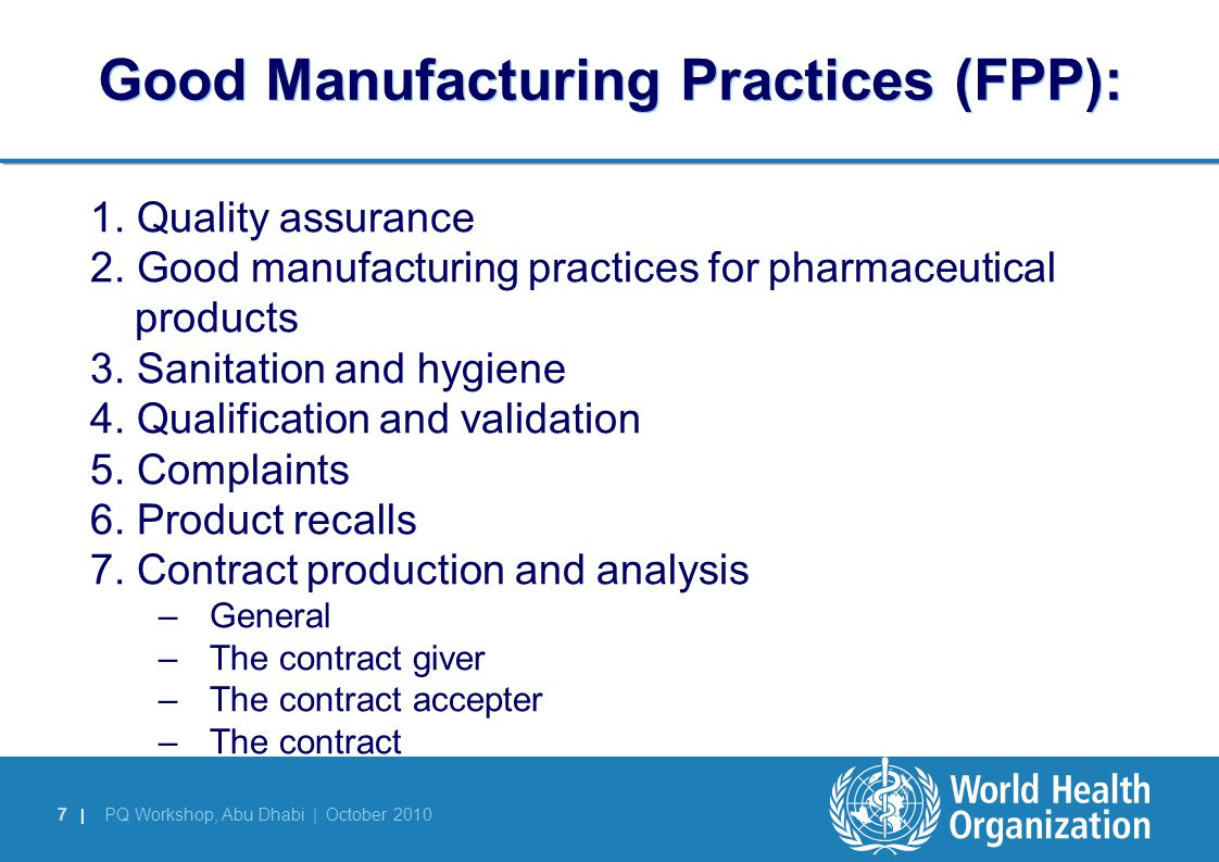 Good Manufacturing Practices (FPP):