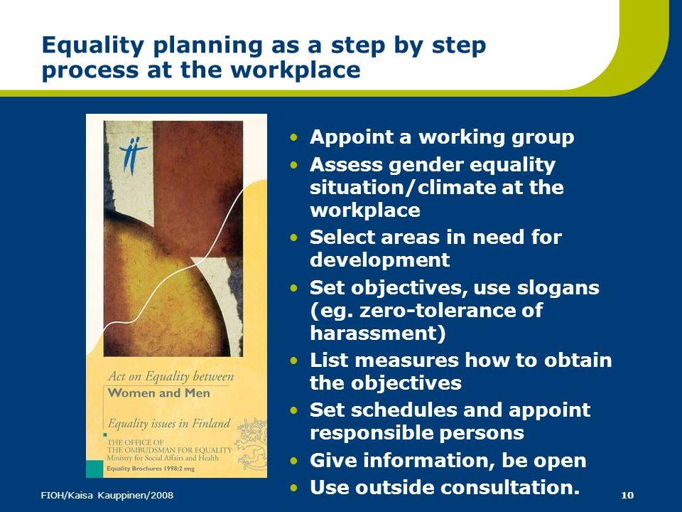 Equality planning as a step by step process at the workplace