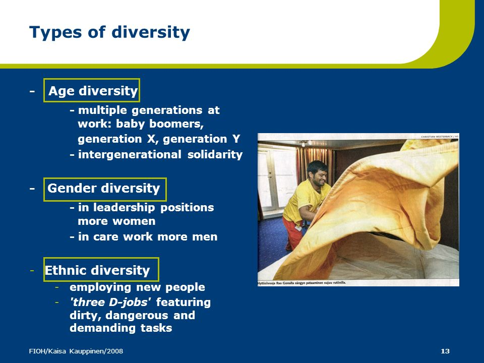 Types of diversity - multiple generations at work: baby boomers,