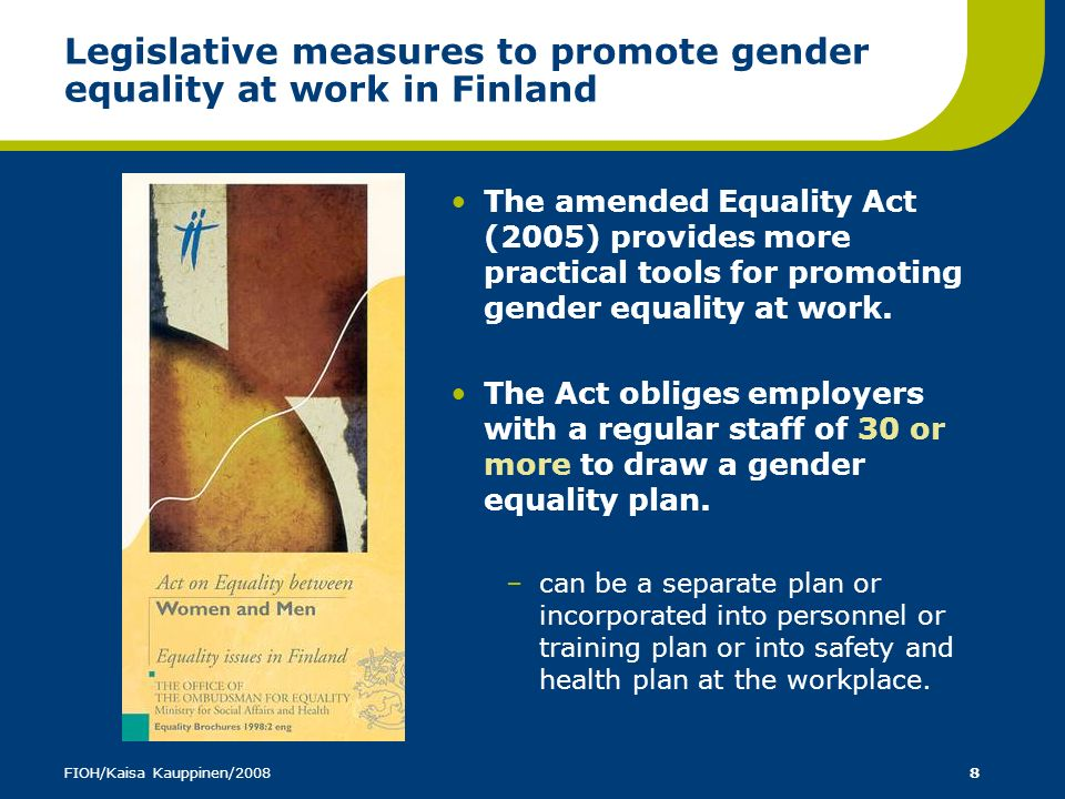 Legislative measures to promote gender equality at work in Finland