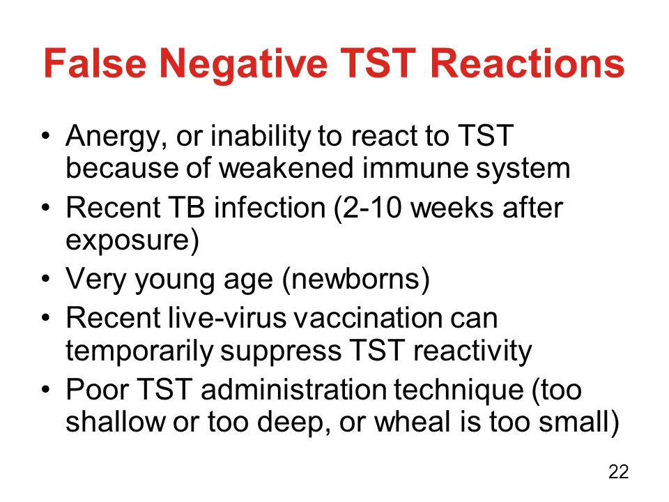 False Negative TST Reactions