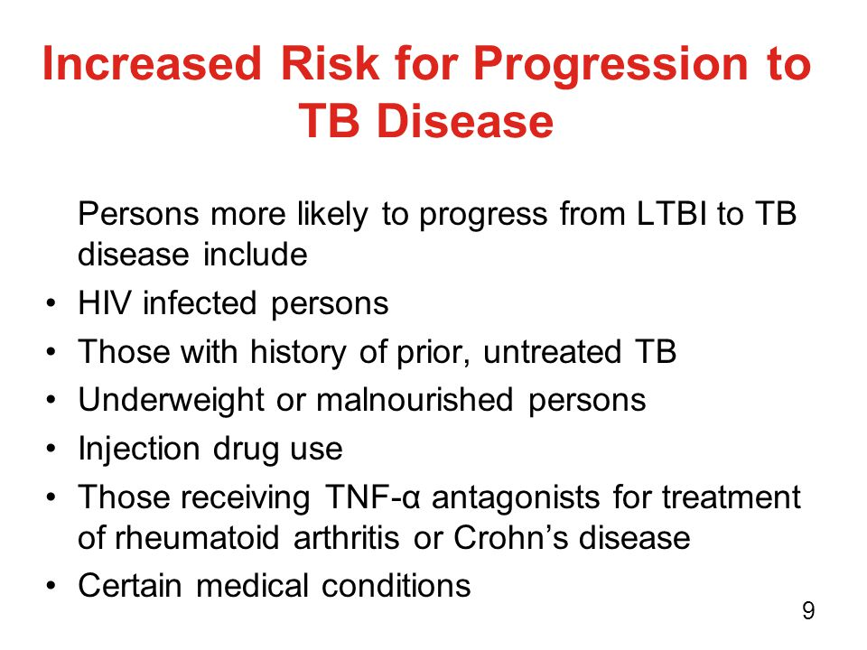 Increased Risk for Progression to TB Disease