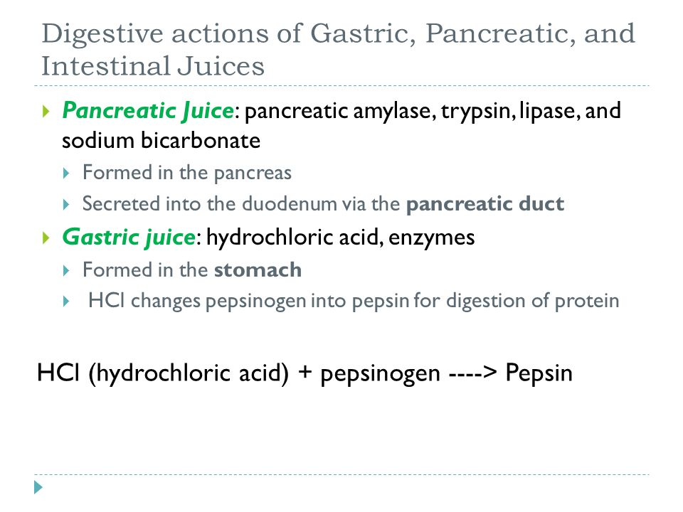 Digestive actions of Gastric, Pancreatic, and Intestinal Juices