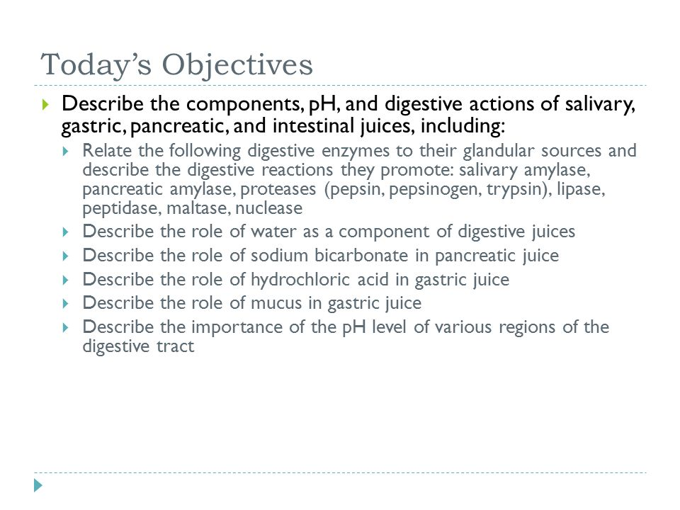 Today's Objectives Describe the components, pH, and digestive actions of salivary, gastric, pancreatic, and intestinal juices, including: