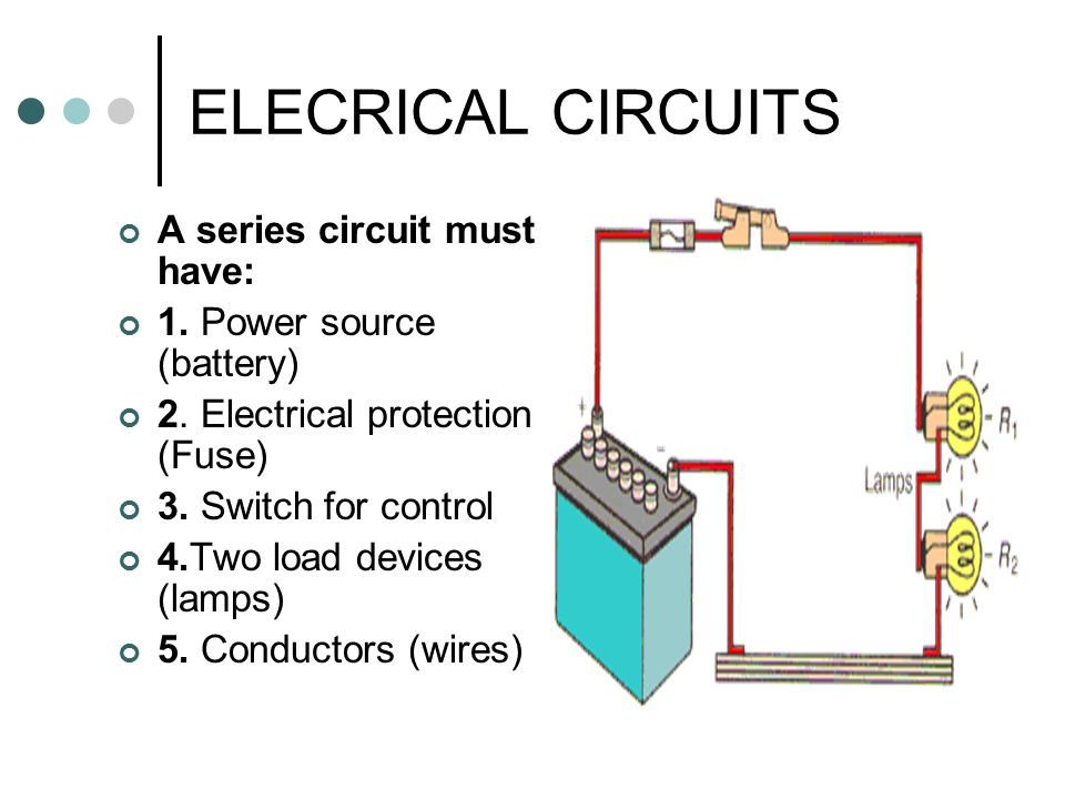 ELECRICAL CIRCUITS A series circuit must have: