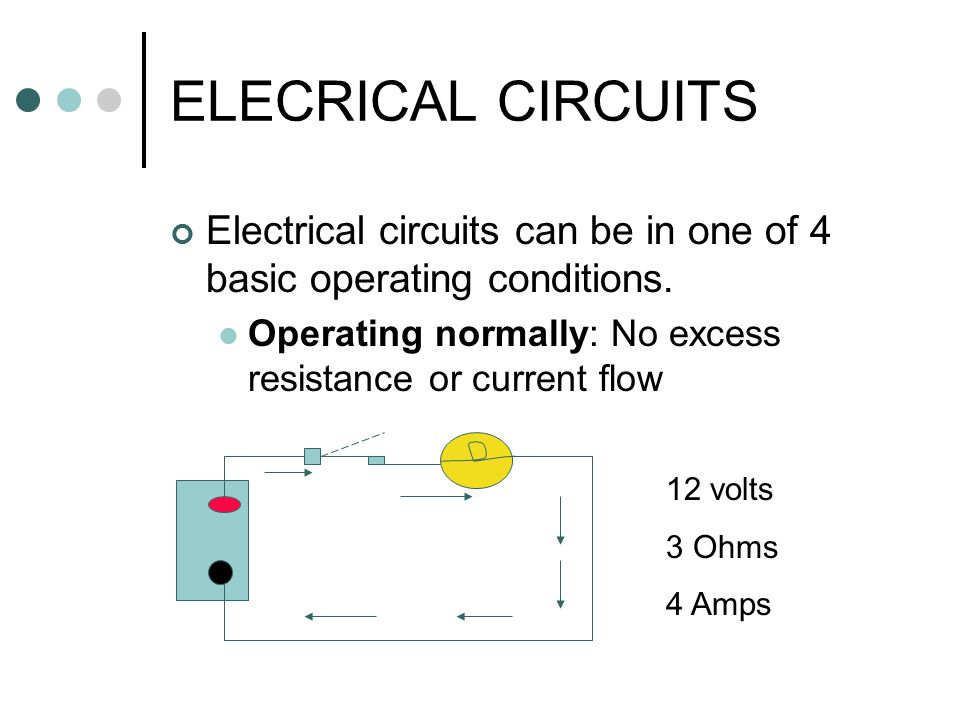 ELECRICAL CIRCUITS Electrical circuits can be in one of 4 basic operating conditions. Operating normally: No excess resistance or current flow.