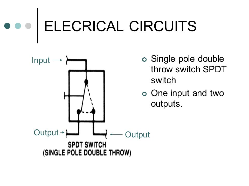 ELECRICAL CIRCUITS Single pole double throw switch SPDT switch