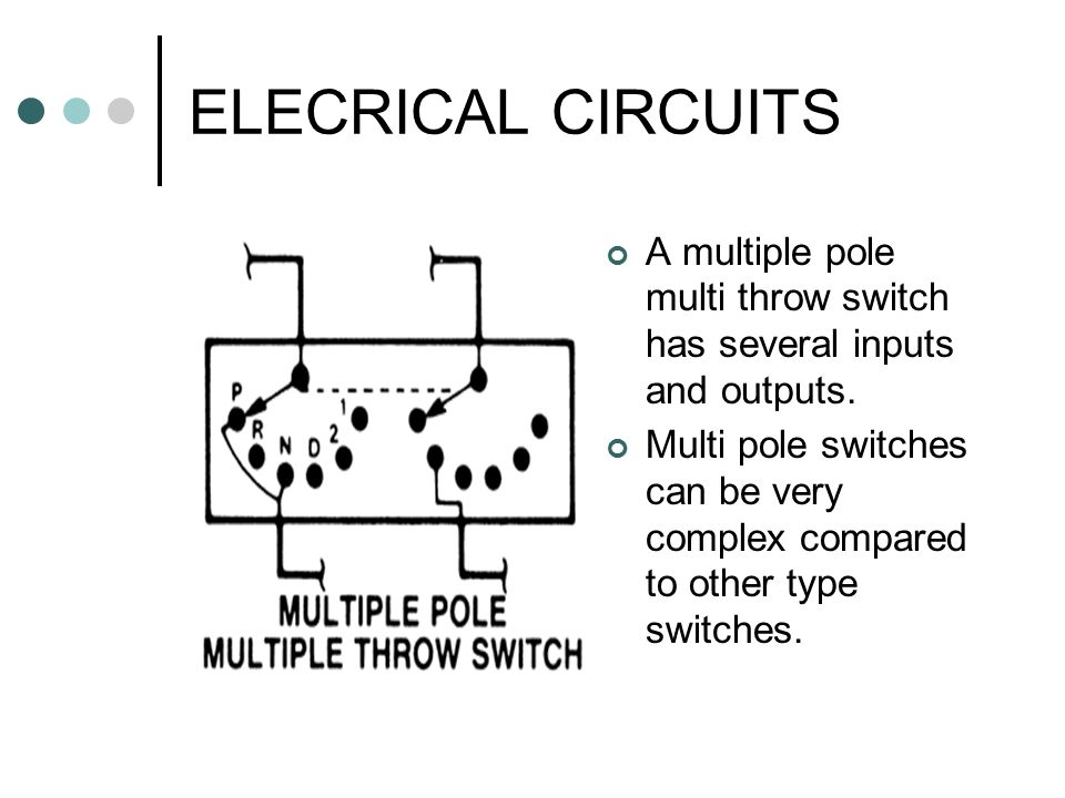 ELECRICAL CIRCUITS A multiple pole multi throw switch has several inputs and outputs.